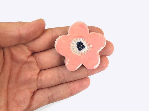 Ceramic Brooch: Pink Blossom