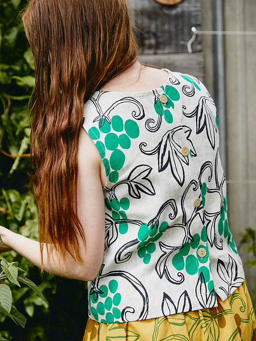 Shell Top: Grapevine Print
