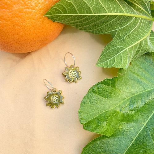 Ceramic Mini Hoops: Speckled Olive Flora