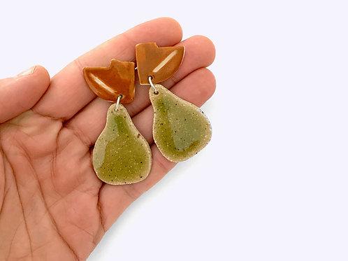 Ceramics Drop Earrings: Pears
