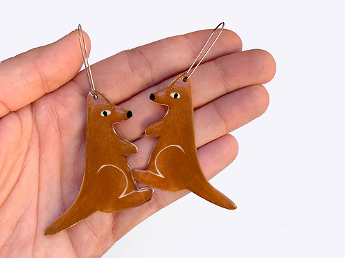 Ceramic Kangaroo Earrings