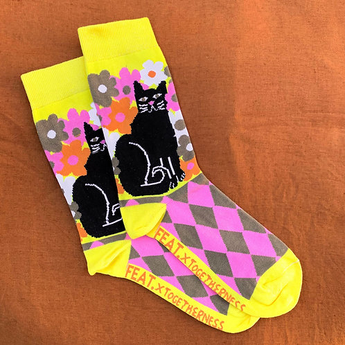 FEAT x Togetherness Socks: Lucky Black Cat