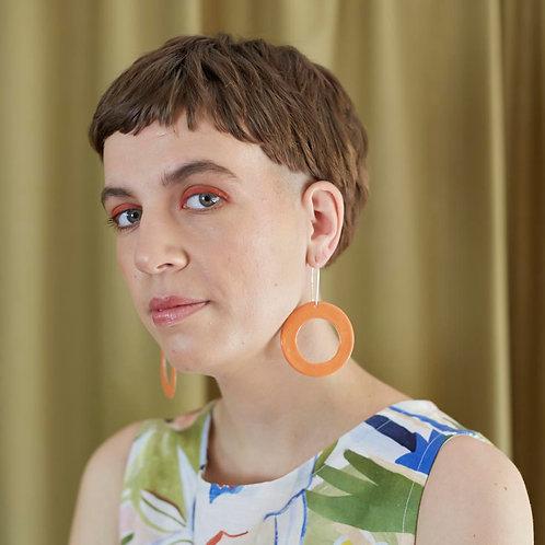 Ceramic Hoop Earrings: Flame