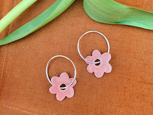 Ceramic Mini Hoops: Salmon Pink Blossom