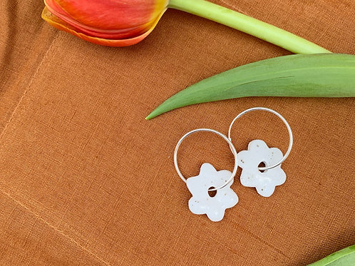 Ceramic Mini Hoops: Pebble Blossom
