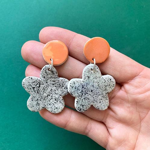 Bloom Ceramic Drop Earrings: Flame with Black Speckle