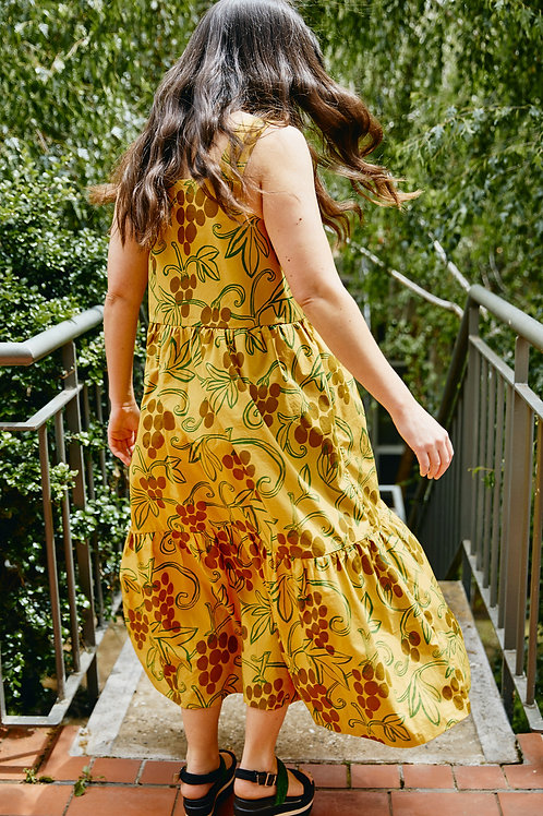 Harvest Dress: Golden Grapevine Print