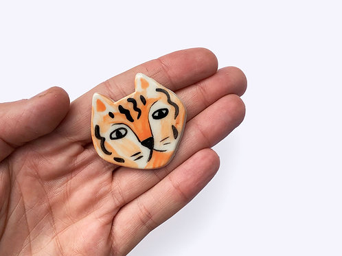 Ceramic Brooch: Tiger