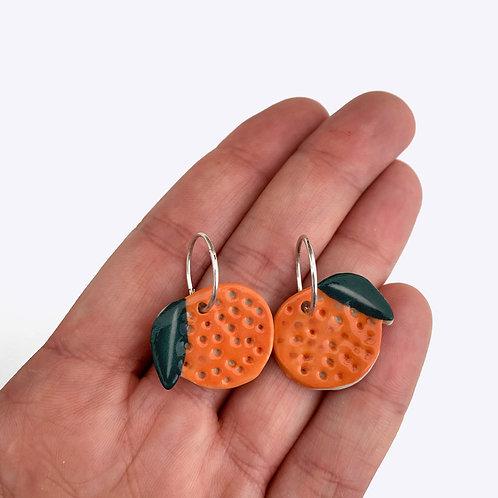 Ceramic Mini Hoops: Mini Orange