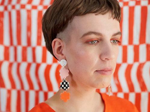 Ceramic Drop Earrings: Daisy Chain