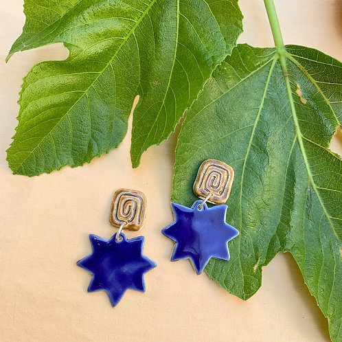 Ionic Ceramic Drop Earrings: Cobalt