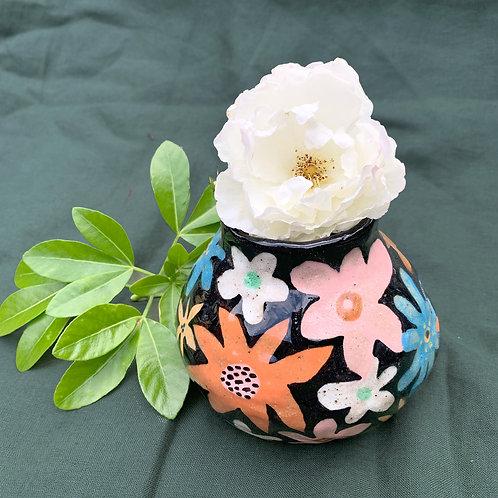 Ceramic Orb Vase: Flower Power