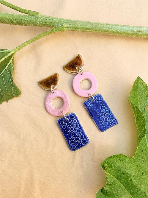 Artifact Ceramic Drop Earrings: Multicoloured