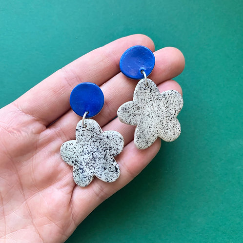 Bloom Ceramic Drop Earrings: Blue with Black Speckle
