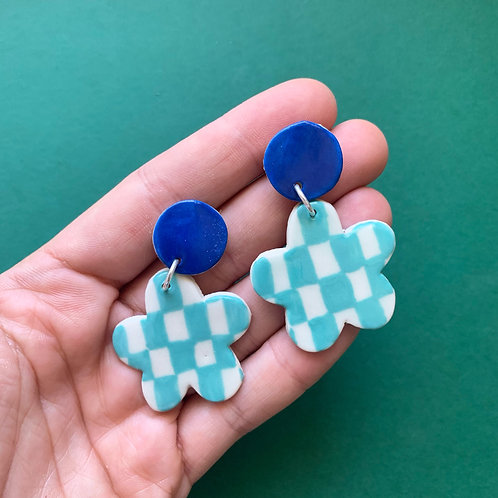 Bloom Ceramic Drop Earrings: Blue with Teal Checkerboard