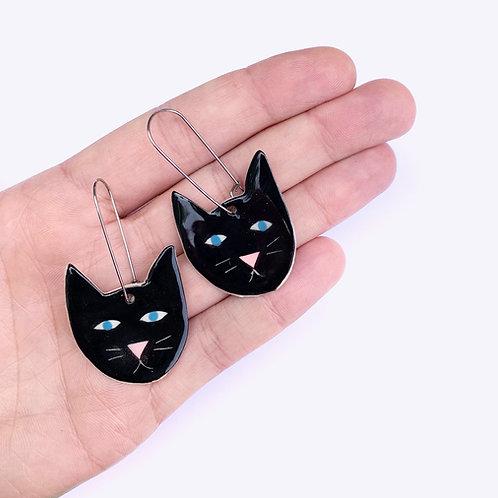 Ceramic Earrings: Lucky Black Cat