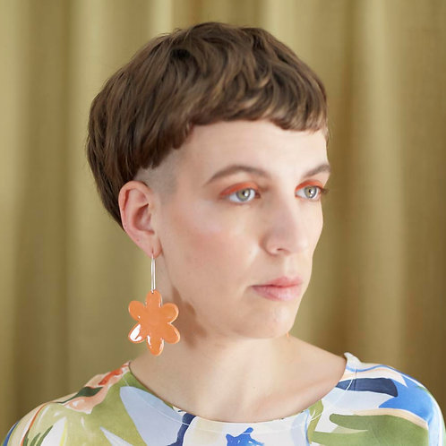 Ceramic Flowerburst Earrings: Flame