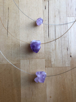 Amethyst Chunk Metal Necklace