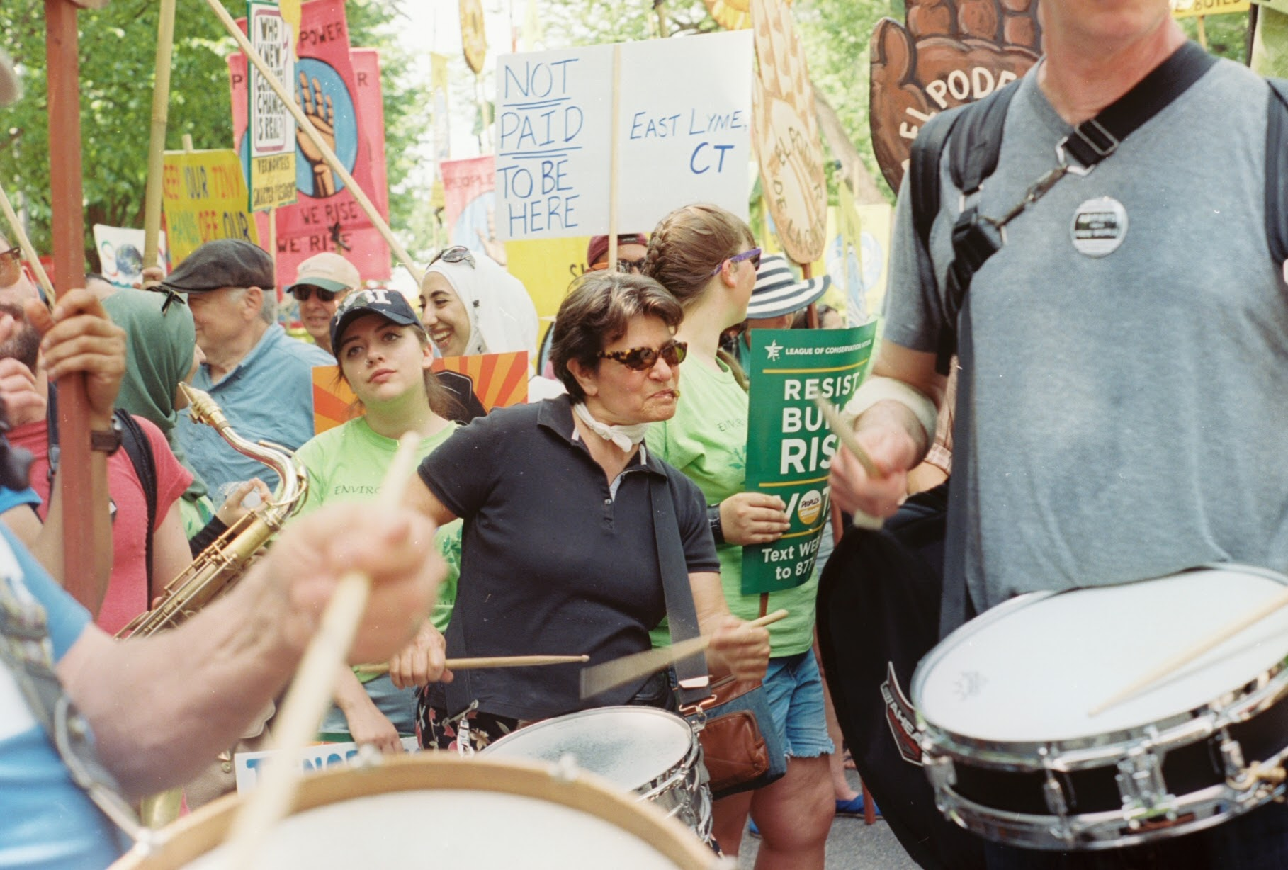 climate march drummers