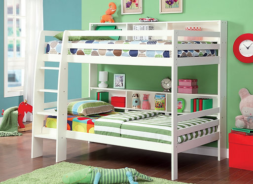 CAMINO TWIN TWIN LOFT BED WITH SHELVES