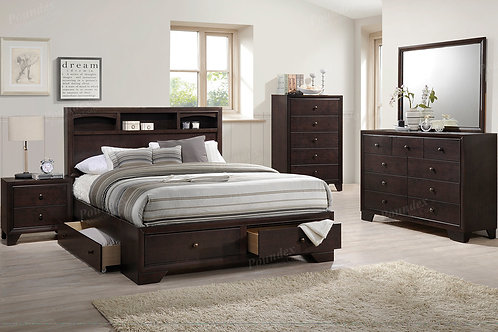 LORE BROWN RUBBER WOOD FINISH BEDROOM SET