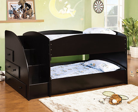 MERRITT  TWIN TWIN BUNK BED W/ STAIRS AND DRAWERS