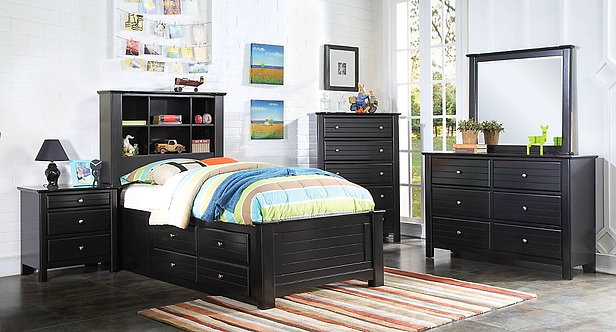 MALLOWSEA BLACK FINISH 4PCS BEDROOM SET