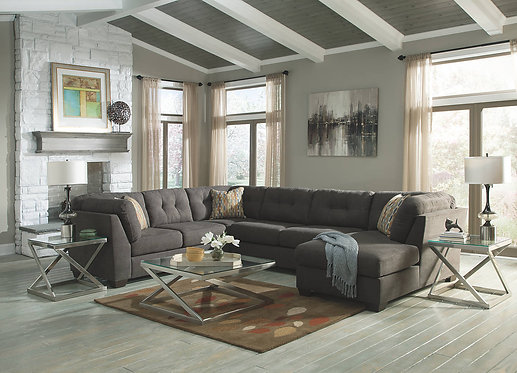 DELTA CITY STEEL  3PCS SECTIONAL W/ RAF CHAISE