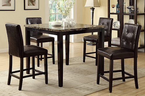 THE FAUX MARBLE 5PCS. COUNTER HEIGHT DINING SET