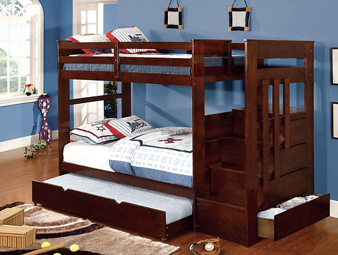 WOODRIGE TWIN OVER TWIN BUNK BED W/ STEPS & STORAGE