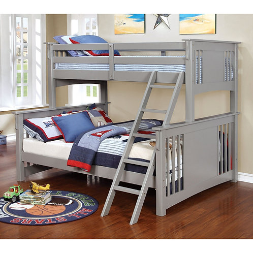 SPRING CREEK TWIN OVER FULL WOOD BUNK BED IN GRAY