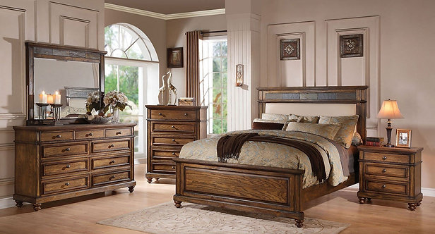 ARIELLE II OAK FINISH BEDROOM BED