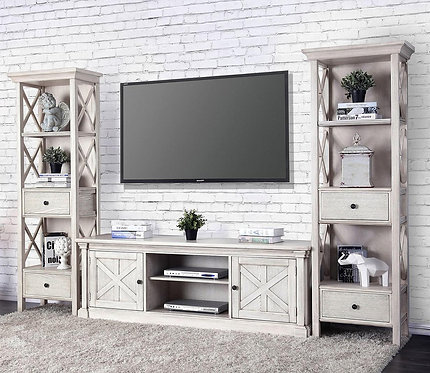 Georgia Antique White Entertainment Center