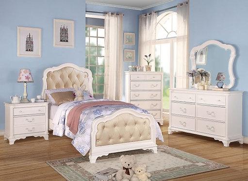 IRA WHITE FINISH 4PCS TWIN BEDROOM SET