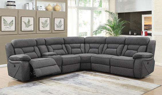 CAMARGUE MOTION GREY COATED MICROFIBER SECTIONAL