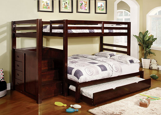 PINE RIDGE TWIN OVER FULL BUNK BED W/ STEPS & DRAWERS