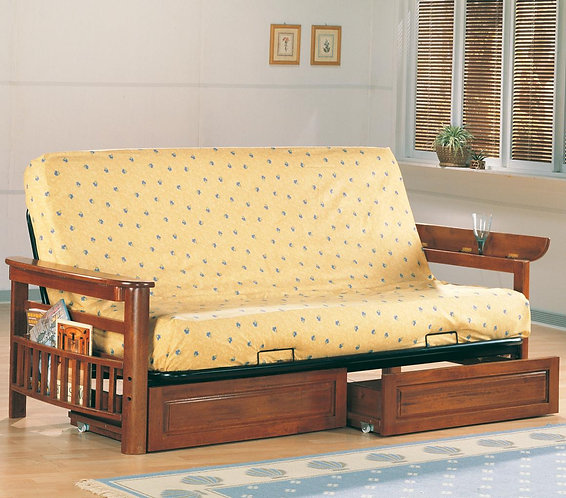 WARM BROWN FINISH FUTON FRAME WITH OPTIONAL UNDER DRAWERS