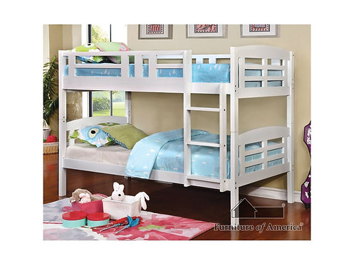 WHITE CASSIE TWIN/TWIN WOOD BUNK BED