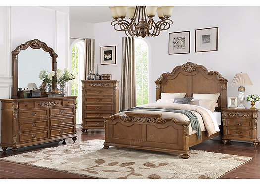 GABRIELA III COLLECTION MEDIUM BROWN FINISH BEDROOM SET