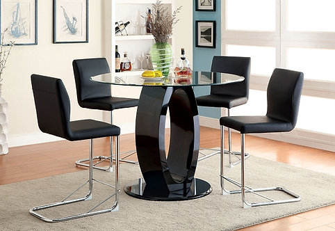 LODIA II 5PCS. BLACK COUNTER HEIGHT GLASS TOP DINING SET
