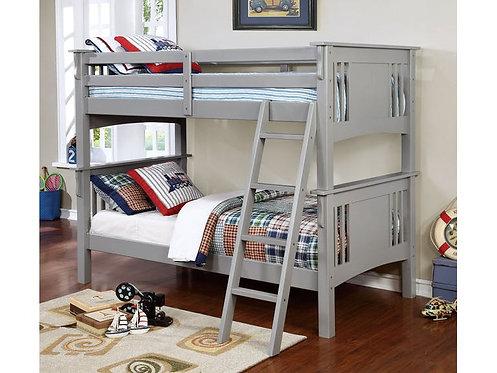 SPRING CREEK GRAY TWIN/TWIN WOOD BUNK BED