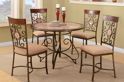 ABELLA FAUX MARBLE  ROUND DINING SET