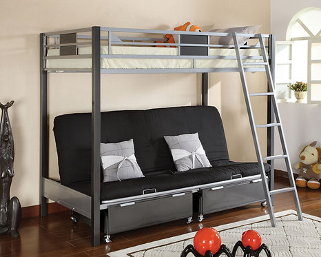 CLETIS TWIN OVER FUTON BASE METAL BUNK BED