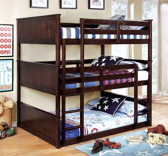 THERESE FULL TRIPLE WOOD BUNK BED