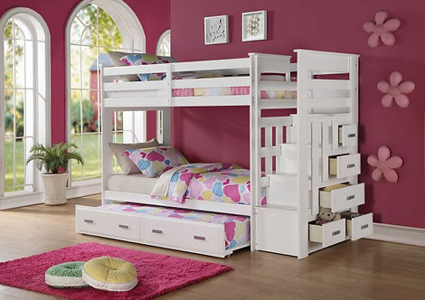 WHITE ALLENTOWN TWIN/TWIN/TRUNDLE W/STAIRS & DRAWERS