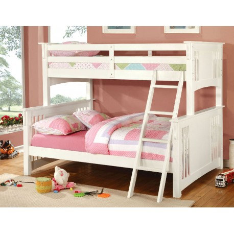 SPRING CREEK WHITE TWIN OVER FULL WOOD BUNK BED