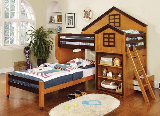 CITADEL  TWIN/TWIN LOFT BED IN OAK + WALNUT