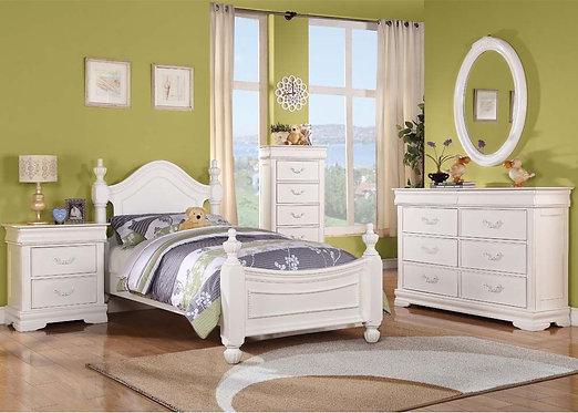 CLASSIQUE WHITE FINISH 4PCS BEDROOM SET