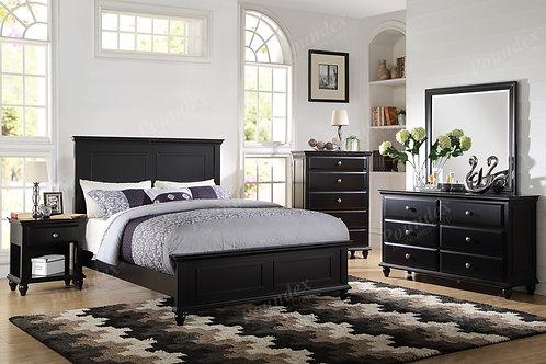 CROW BLACK WOOD FINISH BEDROOM SET