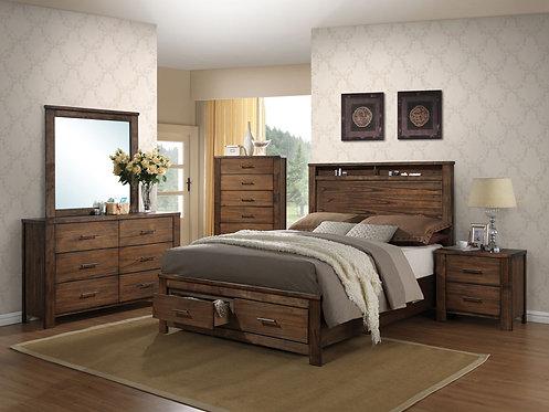 MERRILEE OAK FINISH BEDROOM SET